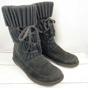 EARTH SHOE black suede winter boots